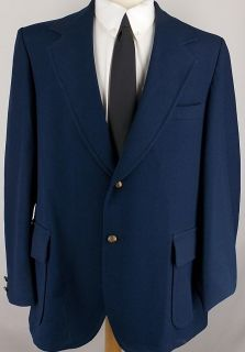 48L VTG John Blair SOLID NAVY BLUE GOLD 2 Btn sport coat jacket suit