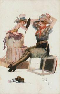 Jean Tam Artist Signed Uncle Sammies Woman Cupid Paris Vintage