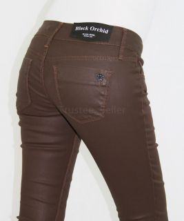 Brown Chocolate Color Coated Waxed Skinny Jewel Jeggings Jeans
