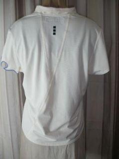 Jamie Sadock Cream Purple Flame Embroidered Shirt Top M Shawl Collar