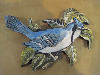 Hand Carved Hand Painted Blue Jay Wood