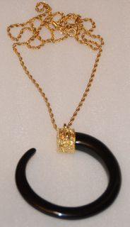 Kenneth Jay Lane C Black Pendant on Gold Chain Necklace