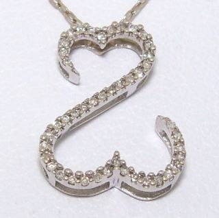 Jane Seymour Open Heart 14K White Gold 0 10ct Diamond Pendant Necklace