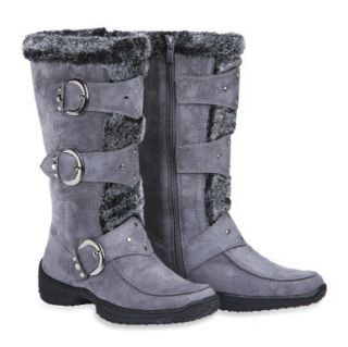 Max Collection Suede Boots with Faux Fur for Women Janet Gray