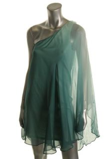 Julie Brown New Evan Green Ombre Silk Drapey One Shoulder Evening