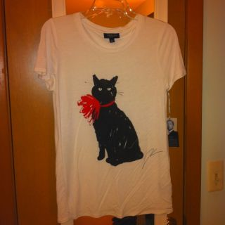 Jason Wu for Target White T Shirt with Cat Print Red Bow