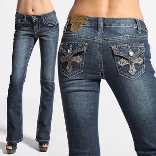 Cross Flap Back Pocket Dark Blue Bootcut Jean Embellished Denim