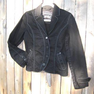 Levis Jean Jacket ladies M Fitted coat Rhinestones Levis Juniors Black