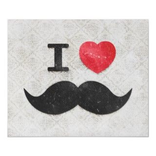 funny, hipster and cool I heart mustache on a gray floral damask