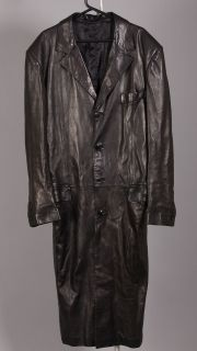 Black Jean Claude Jitrois Long Lambskin Leather Trench Coat Sz 54 Tall