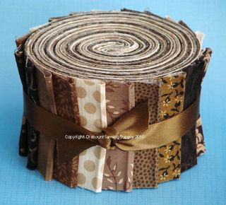Brown Jelly Roll Chocolate Fabric Quilt Strips No Dups