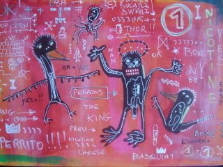 Jean Michel Basquiat Signed Wonderful Drawing Combine Shipping