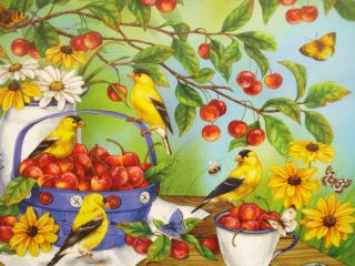 Jigsaw Puzzle Louisa Jean Cherries Jubilee Goldfinch