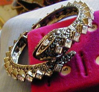 Kenneth Jay Lane Black and Clear Crystal Bangle Snake Bracelet Large