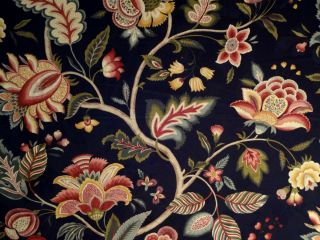 JAY YANG BLACK GREEN RED GOLD JACOBEAN FLORAL DRAPERY UPHOLSTERY