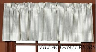 Serene Dark Blue Ivory Ticking Stripe Window Valance