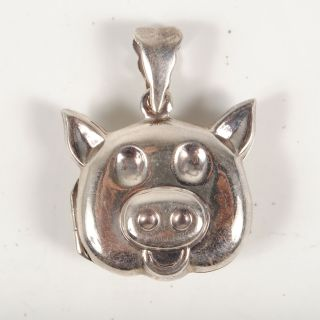 Sterling Silver 925 Pig Face Head Puffy Locket Pendant 0 19 Troy oz