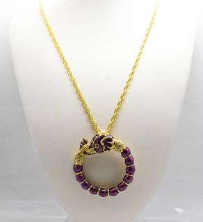 Kenneth Jay Lane KJL Majestic Purple Elephant Circle Pendant Necklace