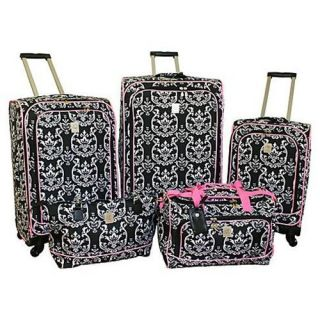 New Jenni Chan Damask 5 Piece Spinner Luggage Set Bla