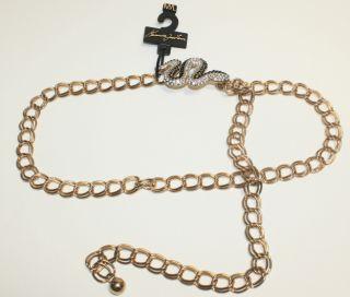 Kenneth Jay Lane Crystal Adorned Snake Gold Chain Belt Medium Large