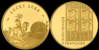 France 2009 50 Euro Lucky Luke 8 45gm Gold Proof Coin