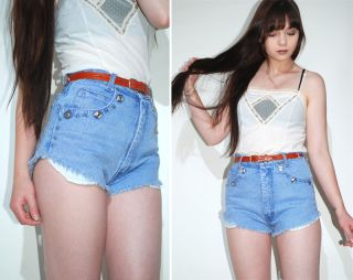 Vtg 80s 90s Grunge High Waist Festival Cutoff Frayed Denim Concho