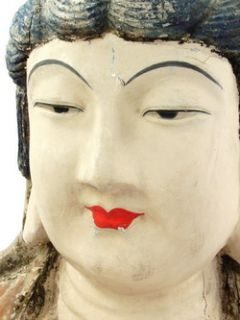 Antique Chinese Painted Wooden Buddha Head Sculpture