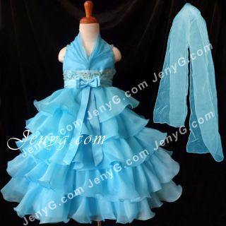 SB01 Flower Girl Pageant Formal Communions Party Gowns Dress Blue 2 10
