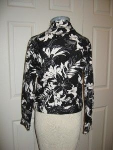 SIZE S NWT ANNE CARSON BLACK & WHITE LINEN/COTTON FLORAL JEAN JACKET