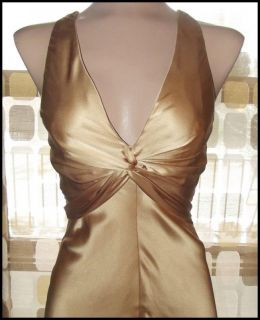 Retro 30s Gold Silk Bias Harlow Gown Hollywood Bombshell Marilyn Dress