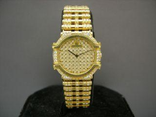 Jean Lassale 18K Yellow Gold Pave Diamond Dial Diamond Bezel Diamond