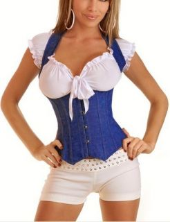 Hot Jean Leisure Style Lace Up Boned Corset Bustier Top Blouse G