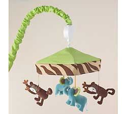 Zoo Animals Green Brown Monkeys Unisex Baby Crib Blue Elephant Musical