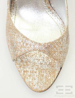 Jean Michel Cazabat Woven Tan Metallic Silver Slingback Heels Size 36