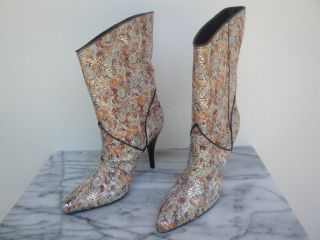 New Jean Michel Cazabat Metallic Brocade Boots Shoes 39