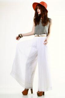Vtg 70s Sheer Pleated Wide Leg Maxi Skirt Palazzo Pants
