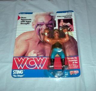RD1 1990 WCW Galoob Sting w NWA Variant Card RARE WWF WWE Wrestling