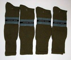 Pair Mens Olive Boot Socks by Geoffrey Beene Cushion Sole Hi Heel 10