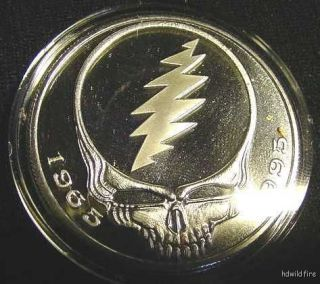 DEAD SILVER PROOF OUNCE US oz COIN JERRY GARCIA ART skull coa skeleton