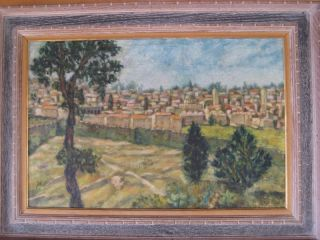 ANTIQUE LANDSCAPE OIL PAINTING JERUSALEM ISRAELI SIGNED JUDAICA