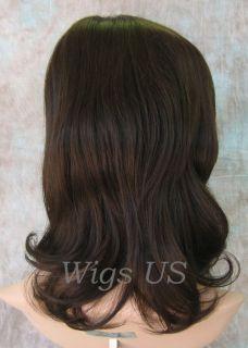 Wigs Med Dark Brown 100 Human Hair Mono Top Wig