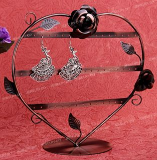 Bronze Heart Rose Stud Earrings Jewelry Rack Holder Display Stand 9
