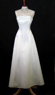 Jessica McClintock White Satin Rhinestones Formal Dress Size 14