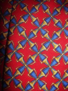Thomas Pink Jermyn St London Blue Red Gold Bits Links Silk Tie 57