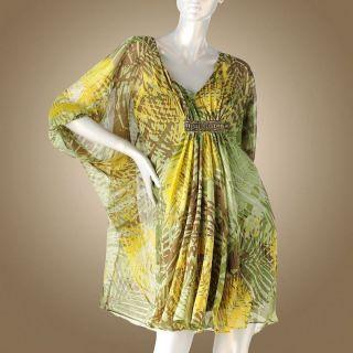 Jennifer Lopez Chiffon Leaf Caftan Dress Large New