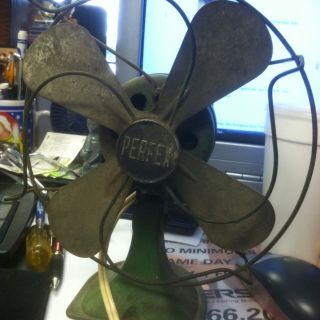 vintage retro desk Fan electric metal blade Perfex Is The Name On It