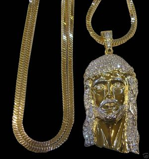 Mens New 14k Gold Plated Franco Chain Jesus Face Set