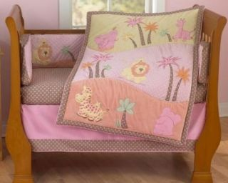 6pc Jessica Breedlove Jessis Jungle Crib Set Minky Dot Girl Baby Pink