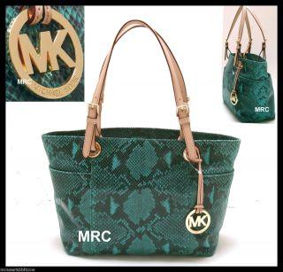 Michael Kors Jet Set Snake Python Blue Green Aqua Shoulder Bag Shopper