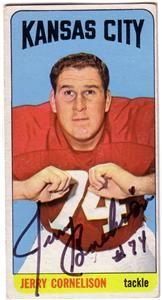 Jerry Cornelison Kansas City Chiefs Autographed 1965 Topps Card